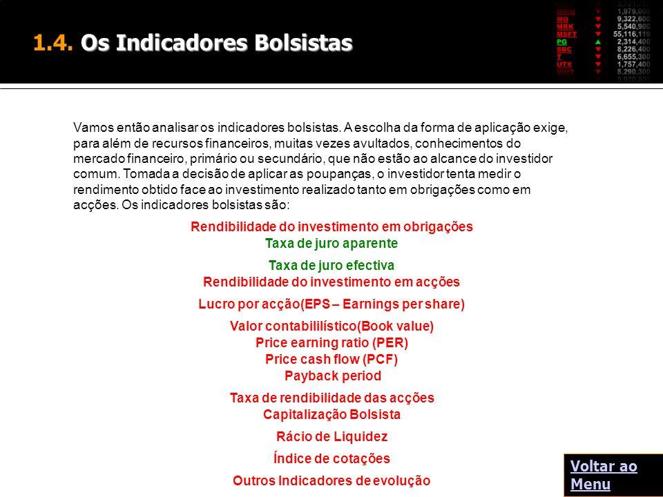 Os Indicadores Bolsistas 1.4. Os Indicadores Bolsistas Rendibilidade do investimento em obrigações Taxa de juro aparente Taxa de juro efectiva Rendibi