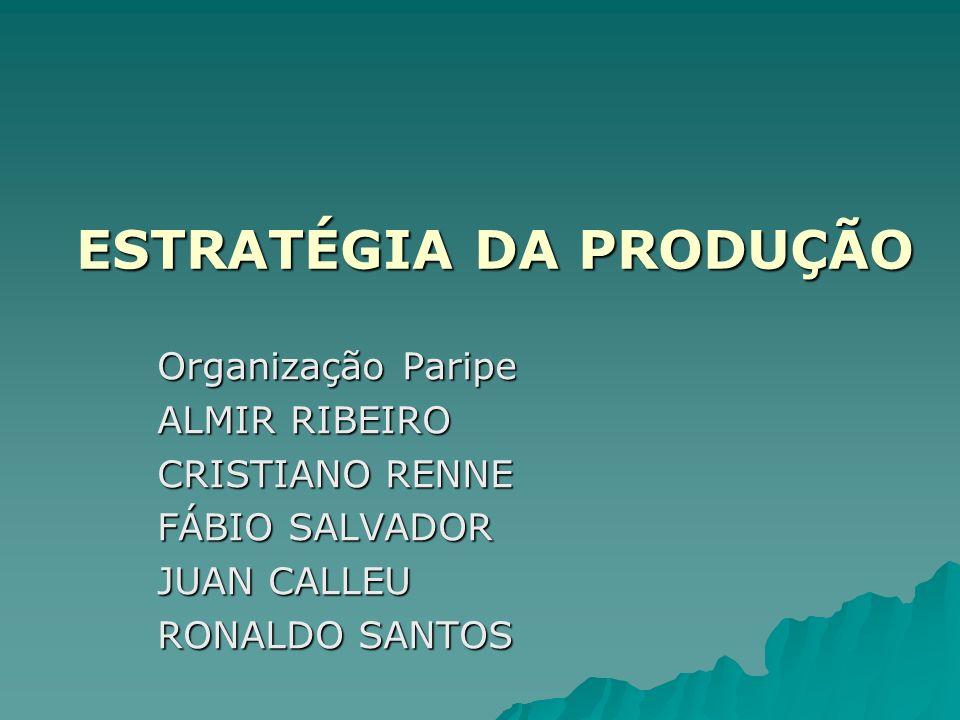ESTRATÉGIA DA PRODUÇÃO Organização Paripe ALMIR RIBEIRO CRISTIANO RENNE FÁBIO SALVADOR JUAN CALLEU RONALDO SANTOS