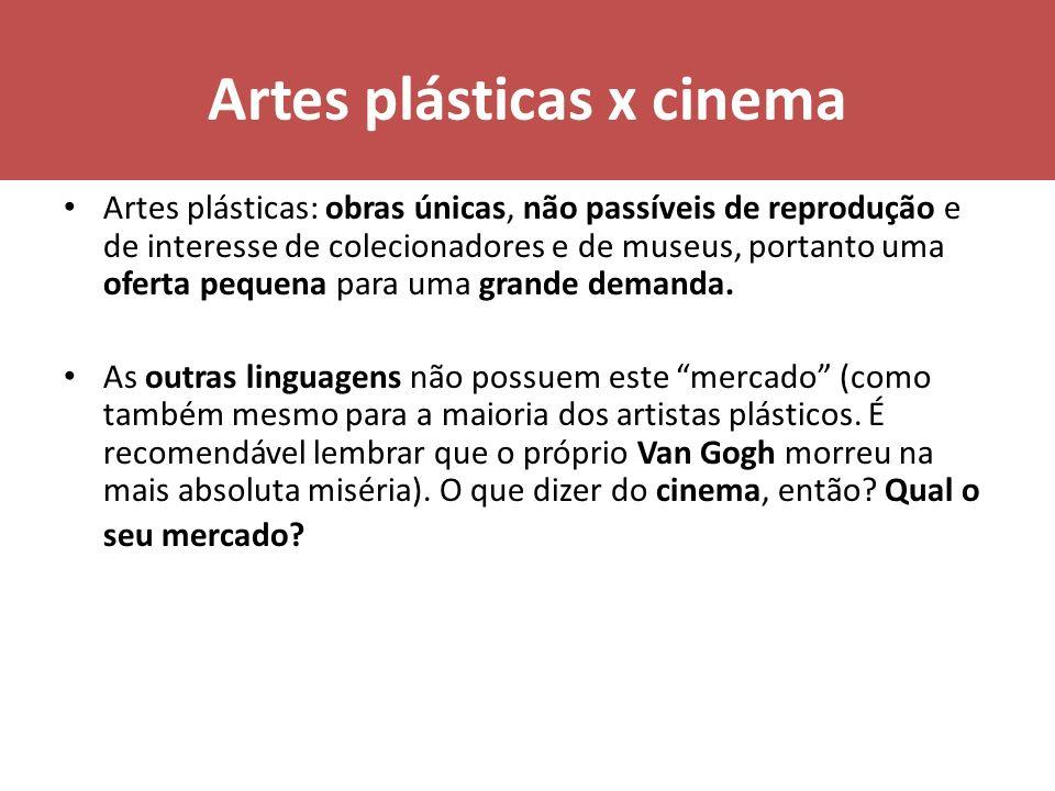 Artes plásticas x cinema Artes plásticas: obras únicas, não passíveis de reprodução e de interesse de colecionadores e de museus, portanto uma oferta