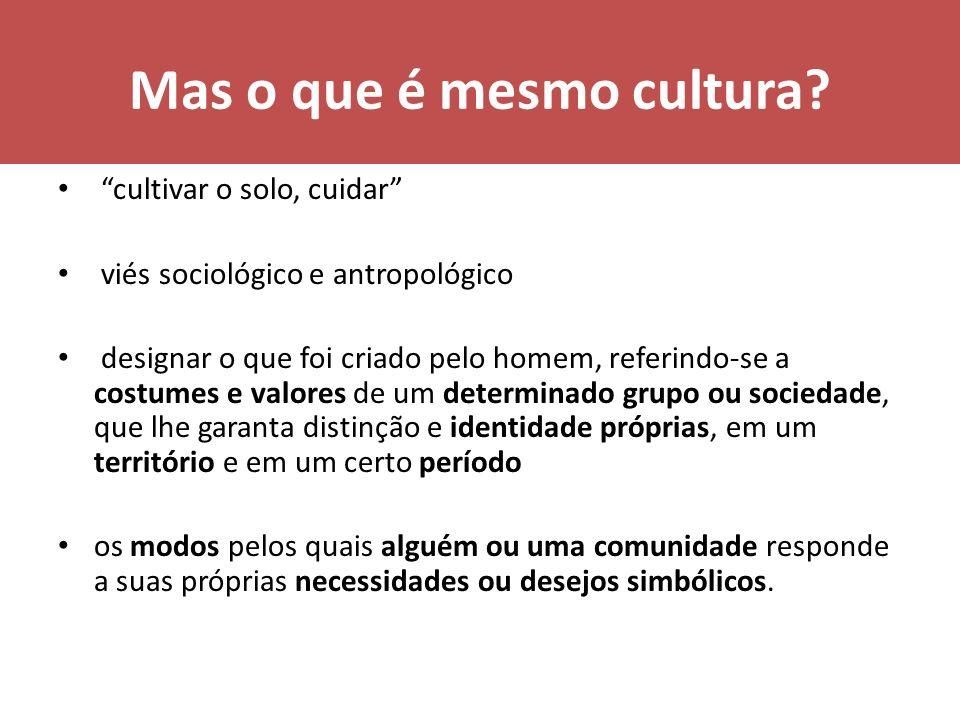 Mas o que é mesmo cultura? cultivar o solo, cuidar viés sociológico e antropológico designar o que foi criado pelo homem, referindo-se a costumes e va