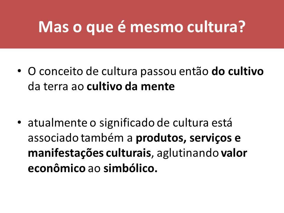 Mas o que é mesmo cultura? O conceito de cultura passou então do cultivo da terra ao cultivo da mente atualmente o significado de cultura está associa