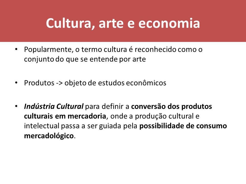 Cultura, arte e economia Popularmente, o termo cultura é reconhecido como o conjunto do que se entende por arte Produtos -> objeto de estudos econômic