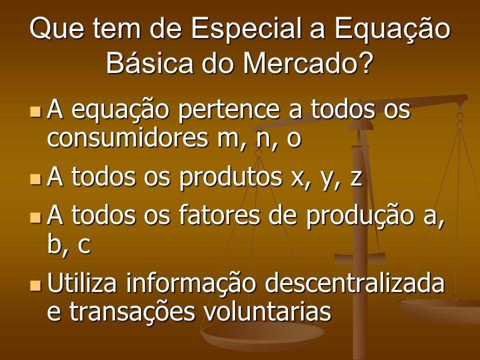 Que tem de Especial a Equação Básica do Mercado? A equação pertence a todos os consumidores m, n, o A equação pertence a todos os consumidores m, n, o