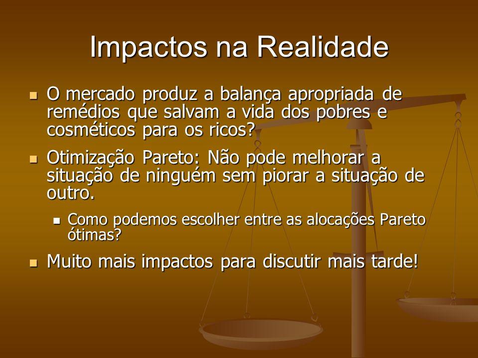 Impactos na Realidade O mercado produz a balança apropriada de remédios que salvam a vida dos pobres e cosméticos para os ricos.