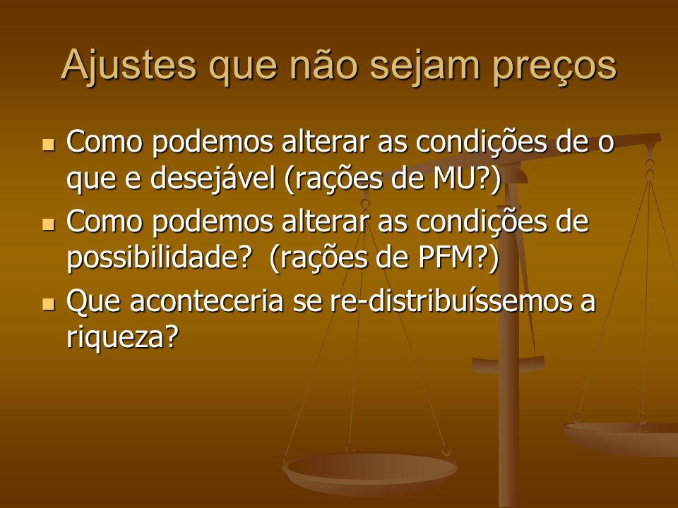 Ajustes que não sejam preços Como podemos alterar as condições de o que e desejável (rações de MU?) Como podemos alterar as condições de o que e desejável (rações de MU?) Como podemos alterar as condições de possibilidade.