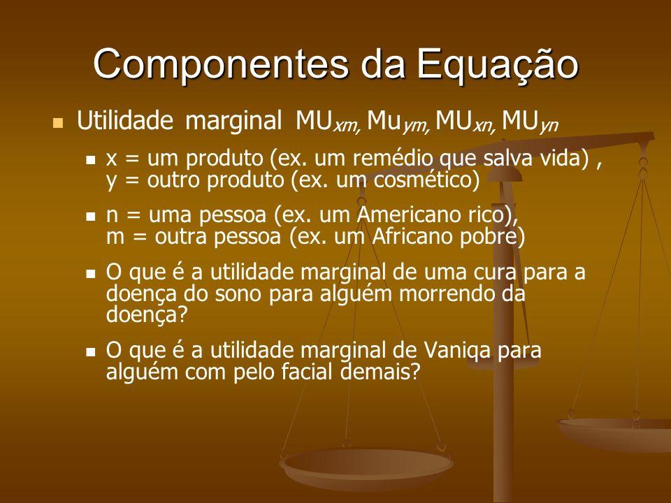 Componentes da Equação Utilidade marginal MU xm, Mu ym, MU xn, MU yn x = um produto (ex. um remédio que salva vida), y = outro produto (ex. um cosméti