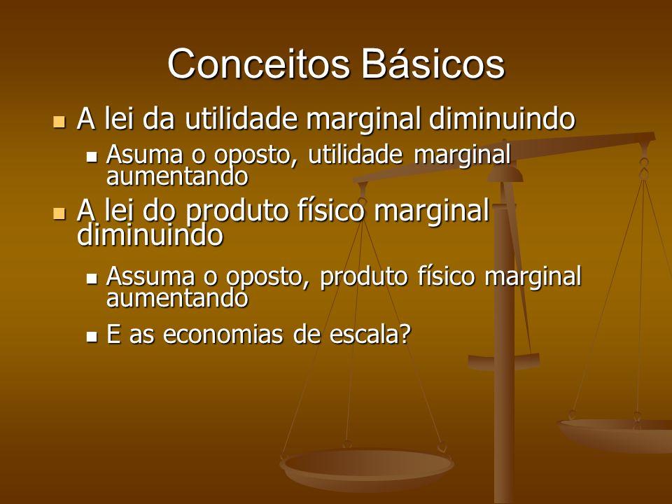 Conceitos Básicos A lei da utilidade marginal diminuindo A lei da utilidade marginal diminuindo Asuma o oposto, utilidade marginal aumentando Asuma o