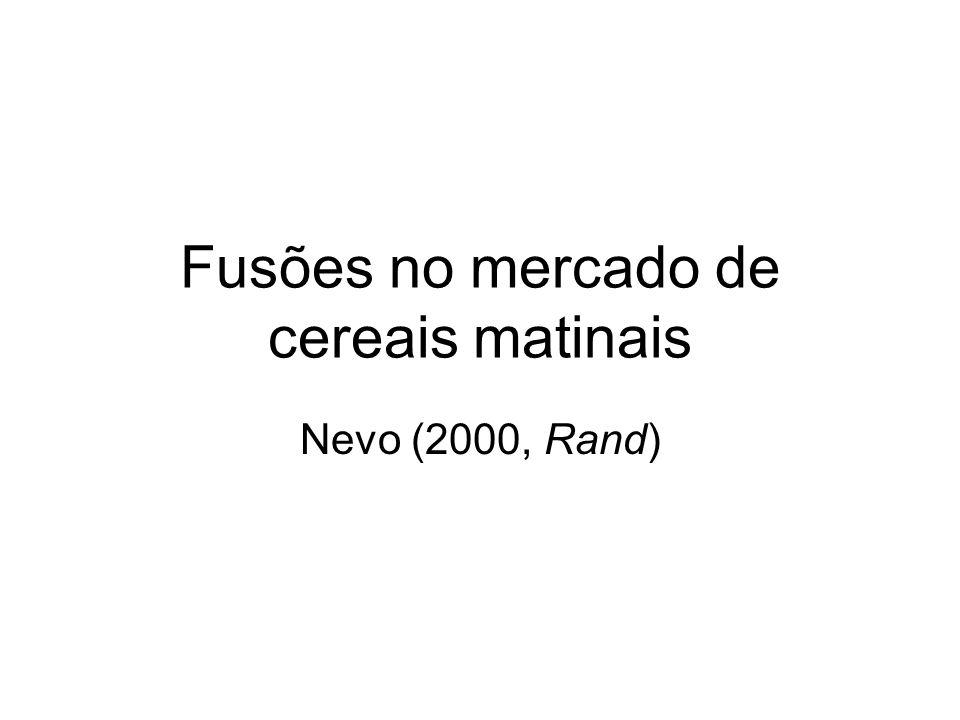 Fusões no mercado de cereais matinais Nevo (2000, Rand)
