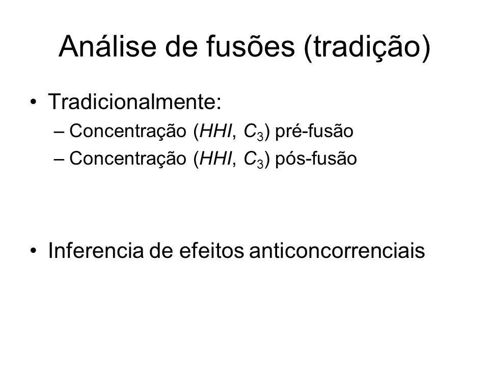 Análise de fusões (tradição) Tradicionalmente: –Concentração (HHI, C 3 ) pré-fusão –Concentração (HHI, C 3 ) pós-fusão Inferencia de efeitos anticonco