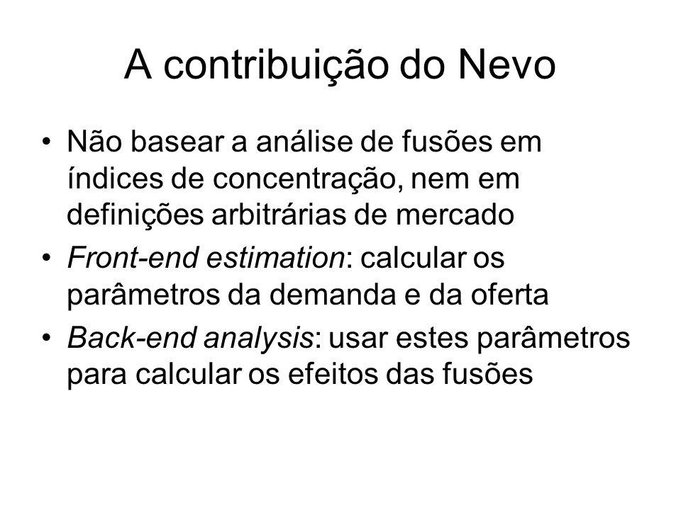 A contribuição do Nevo Não basear a análise de fusões em índices de concentração, nem em definições arbitrárias de mercado Front-end estimation: calcu
