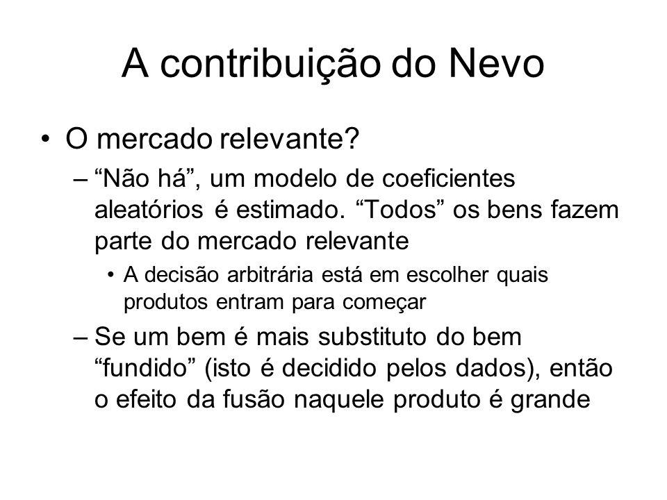 A contribuição do Nevo Os parâmetros estimados da demanda + a suposição de concorrencia Bertrand-Nash permitem recuperar os custos marginais de produção Os custos marginais recuperados são usados para simular o novo equilíbrio