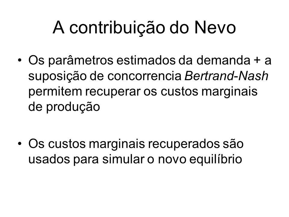 A contribuição do Nevo Os parâmetros estimados da demanda + a suposição de concorrencia Bertrand-Nash permitem recuperar os custos marginais de produç