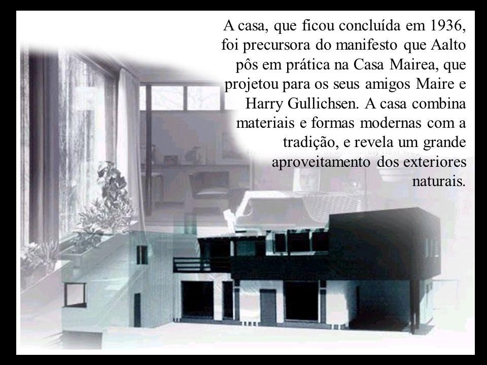 A casa, que ficou concluída em 1936, foi precursora do manifesto que Aalto pôs em prática na Casa Mairea, que projetou para os seus amigos Maire e Har