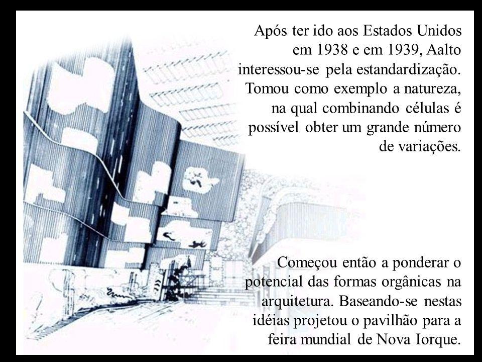 Após ter ido aos Estados Unidos em 1938 e em 1939, Aalto interessou-se pela estandardização. Tomou como exemplo a natureza, na qual combinando células