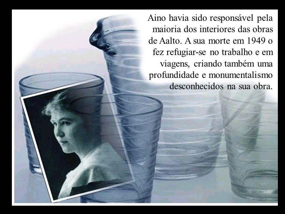 Aino havia sido responsável pela maioria dos interiores das obras de Aalto. A sua morte em 1949 o fez refugiar-se no trabalho e em viagens, criando ta