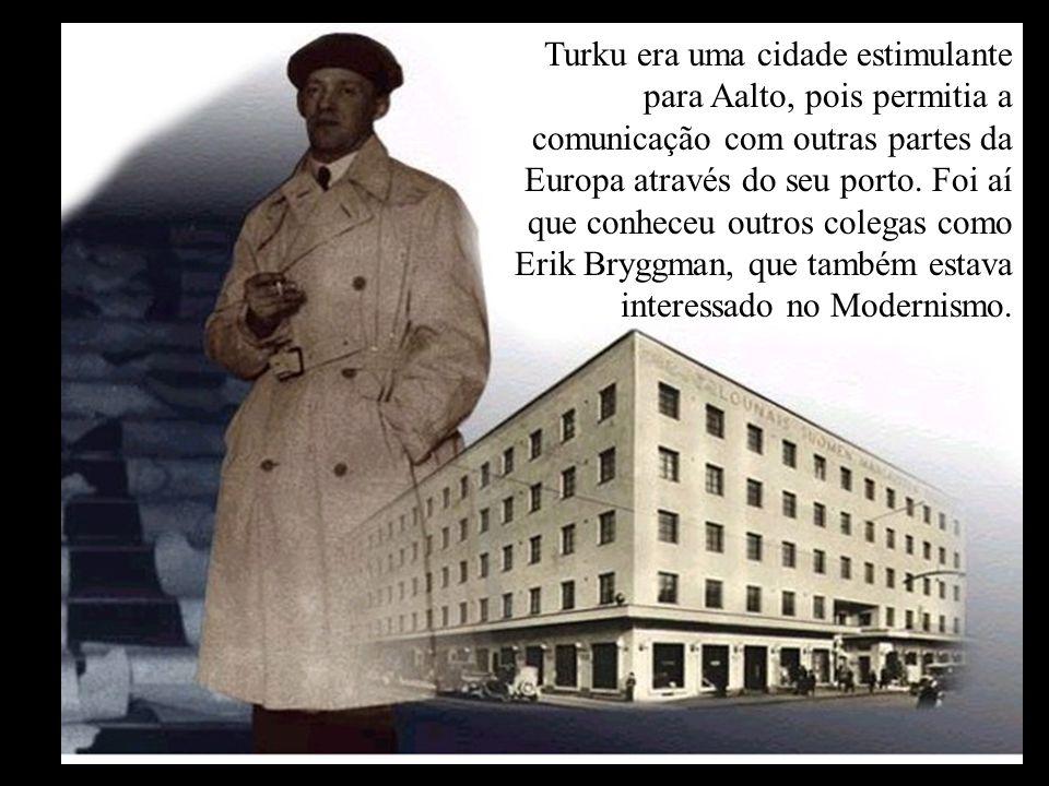 Turku era uma cidade estimulante para Aalto, pois permitia a comunicação com outras partes da Europa através do seu porto. Foi aí que conheceu outros