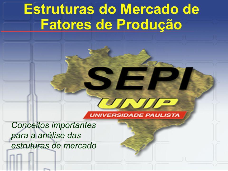 Estruturas do Mercado de Fatores de Produção Conceitos importantes para a análise das estruturas de mercado
