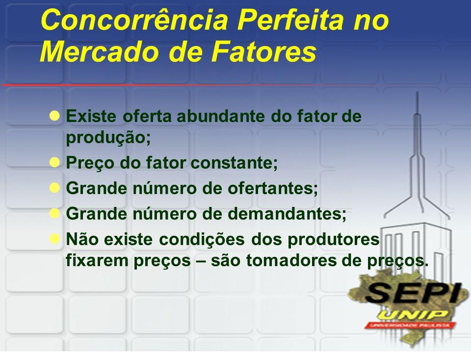 Concorrência Perfeita no Mercado de Fatores Existe oferta abundante do fator de produção; Preço do fator constante; Grande número de ofertantes; Grand
