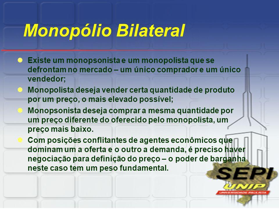 Monopólio Bilateral Existe um monopsonista e um monopolista que se defrontam no mercado – um único comprador e um único vendedor; Monopolista deseja v