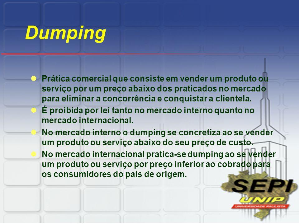 Dumping Prática comercial que consiste em vender um produto ou serviço por um preço abaixo dos praticados no mercado para eliminar a concorrência e co