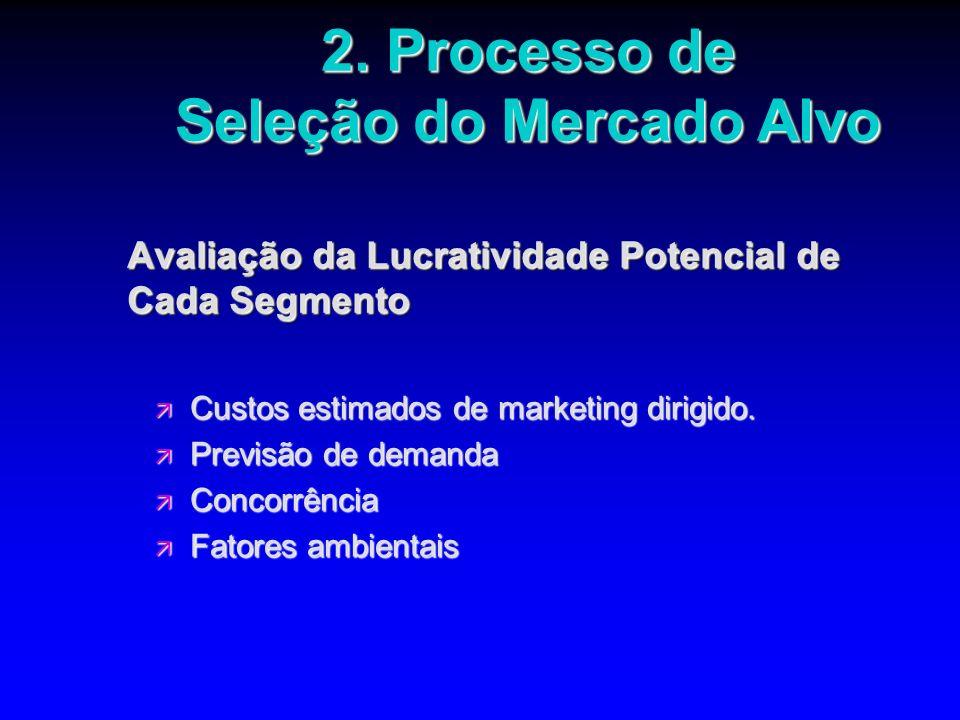 Avaliação da Lucratividade Potencial de Cada Segmento ä Custos estimados de marketing dirigido. ä Previsão de demanda ä Concorrência ä Fatores ambient