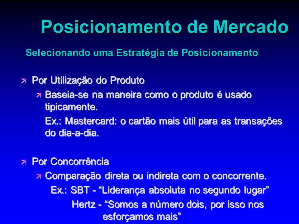 Posicionamento de Mercado ä Por Utilização do Produto ä Baseia-se na maneira como o produto é usado tipicamente. Ex.: Mastercard: o cartão mais útil p
