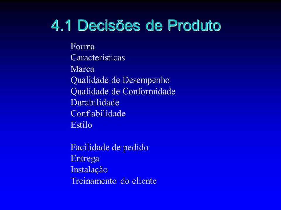 4.1 Decisões de Produto Forma Características Marca Qualidade de Desempenho Qualidade de Conformidade Durabilidade Confiabilidade Estilo Facilidade de