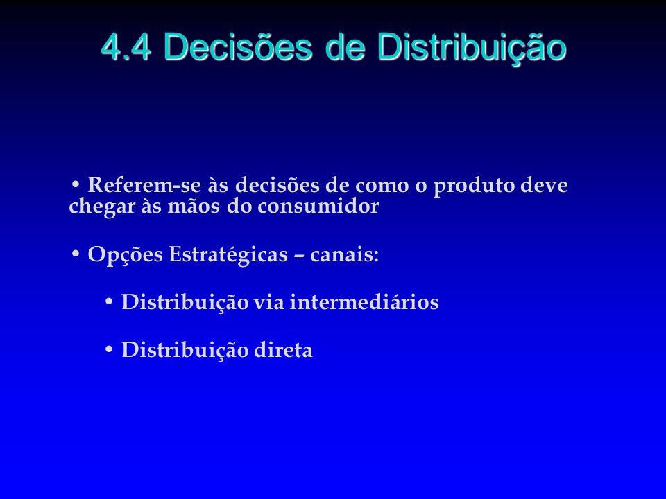 Referem-se às decisões de como o produto deve chegar às mãos do consumidor Opções Estratégicas – canais: Distribuição via intermediários Distribuição