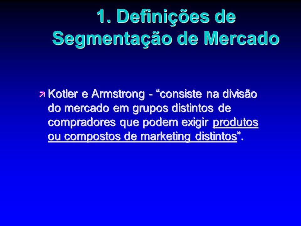 1. Definições de Segmentação de Mercado ä Kotler e Armstrong - consiste na divisão do mercado em grupos distintos de compradores que podem exigir prod