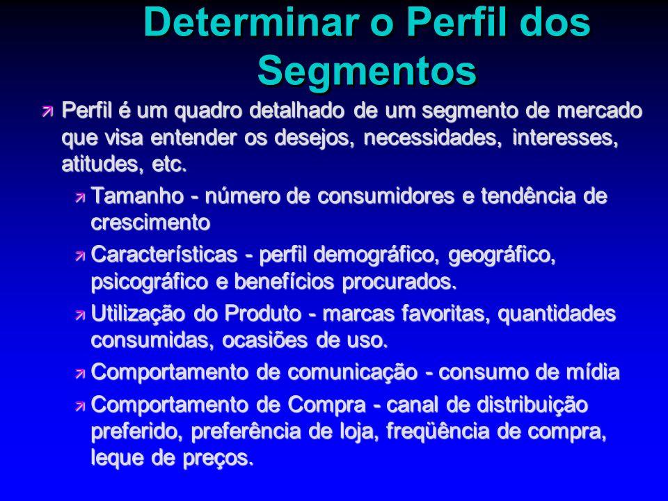 Determinar o Perfil dos Segmentos ä Perfil é um quadro detalhado de um segmento de mercado que visa entender os desejos, necessidades, interesses, ati