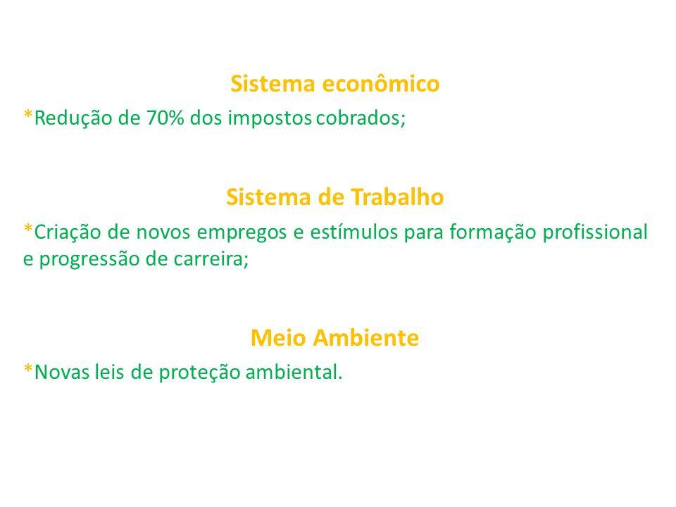 Sistema econômico *Redução de 70% dos impostos cobrados; Sistema de Trabalho *Criação de novos empregos e estímulos para formação profissional e progr
