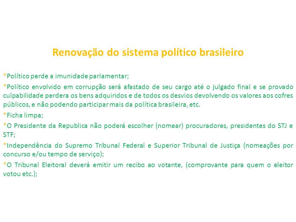 Renovação do sistema político brasileiro *Político perde a imunidade parlamentar; *Político envolvido em corrupção será afastado de seu cargo até o ju