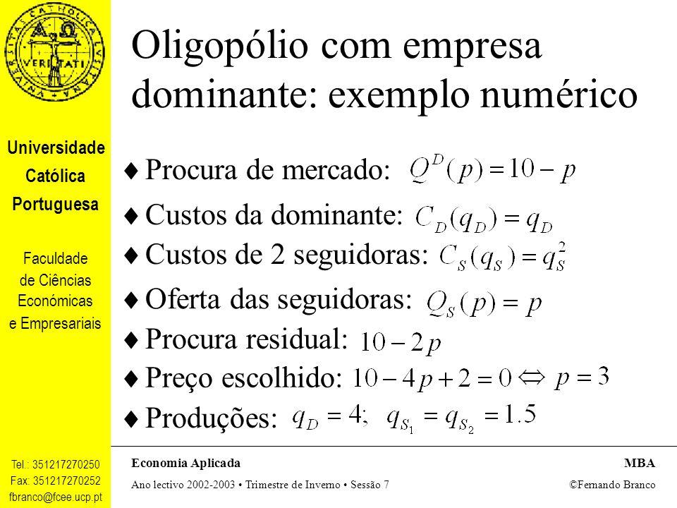 Universidade Católica Portuguesa Faculdade de Ciências Económicas e Empresariais Tel.: 351217270250 Fax: 351217270252 fbranco@fcee.ucp.pt Economia AplicadaMBA Ano lectivo 2002-2003 Trimestre de Inverno Sessão 7 ©Fernando Branco Oligopólio com empresa dominante: exemplo gráfico Q P QDQD QSiQSi Q* P* CMg D QSQS CMg S D DRDR