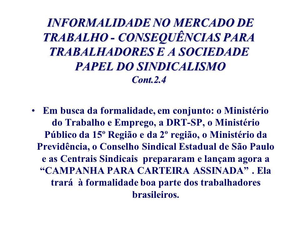 INFORMALIDADE NO MERCADO DE TRABALHO - CONSEQUÊNCIAS PARA TRABALHADORES E A SOCIEDADE PAPEL DO SINDICALISMO Cont.2.4 INFORMALIDADE NO MERCADO DE TRABA