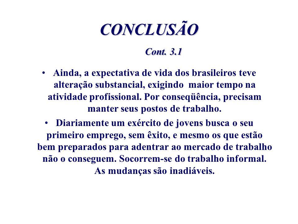 CONCLUSÃO Cont. 3.1 Ainda, a expectativa de vida dos brasileiros teve alteração substancial, exigindo maior tempo na atividade profissional. Por conse