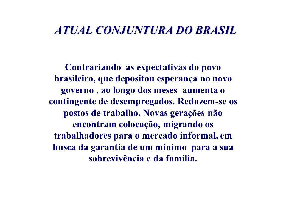 ATUAL CONJUNTURA DO BRASIL Contrariando as expectativas do povo brasileiro, que depositou esperança no novo governo, ao longo dos meses aumenta o cont