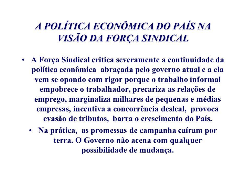 A POLÍTICA ECONÔMICA DO PAÍS NA VISÃO DA FORÇA SINDICAL A Força Sindical critica severamente a continuidade da política econômica abraçada pelo govern