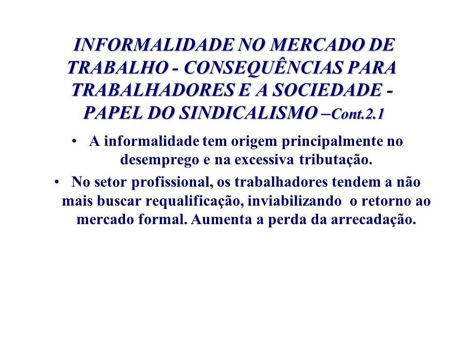 INFORMALIDADE NO MERCADO DE TRABALHO - CONSEQUÊNCIAS PARA TRABALHADORES E A SOCIEDADE - PAPEL DO SINDICALISMO – Cont.2.1 INFORMALIDADE NO MERCADO DE T