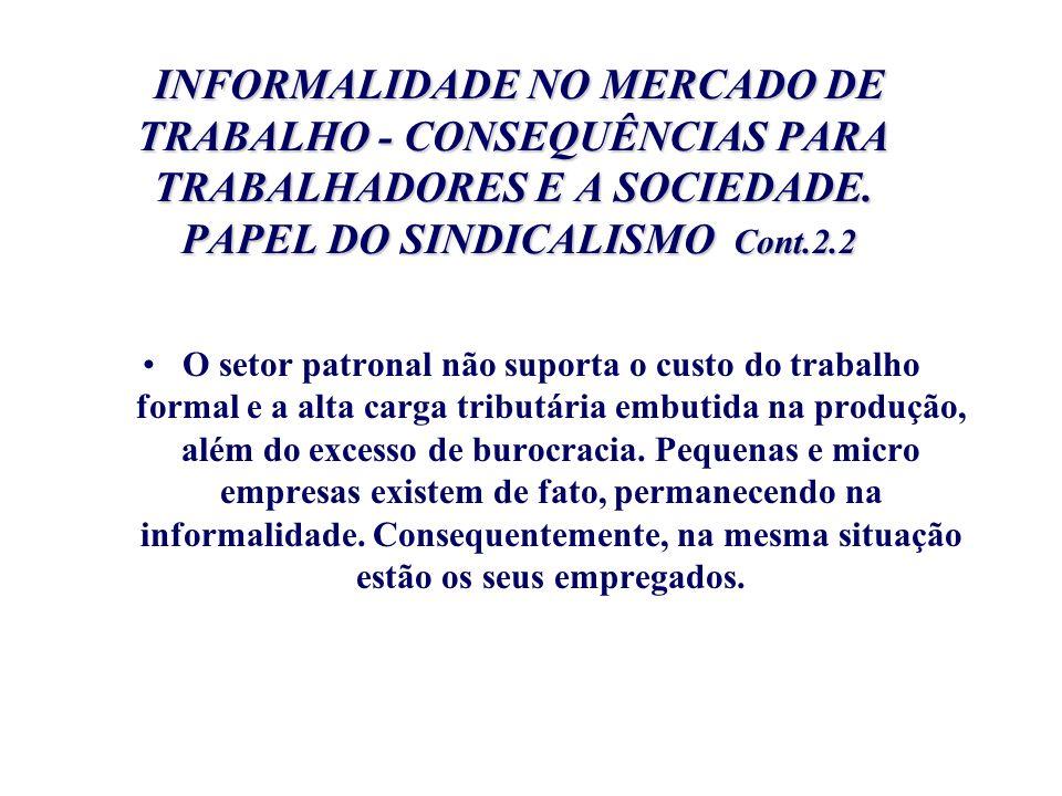 INFORMALIDADE NO MERCADO DE TRABALHO - CONSEQUÊNCIAS PARA TRABALHADORES E A SOCIEDADE. PAPEL DO SINDICALISMO Cont.2.2 INFORMALIDADE NO MERCADO DE TRAB