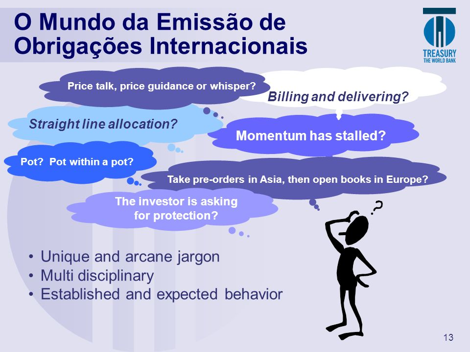 13 O Mundo da Emissão de Obrigações Internacionais Straight line allocation? Billing and delivering? Momentum has stalled? Pot? Pot within a pot? Take