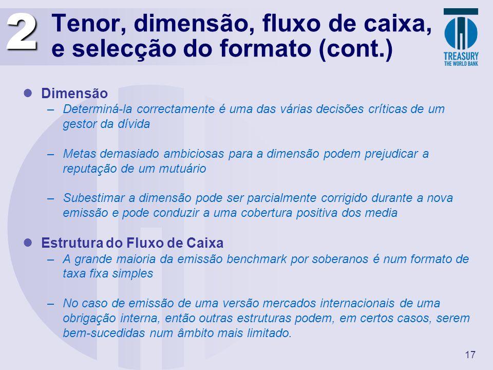 17 Tenor, dimensão, fluxo de caixa, e selecção do formato (cont.) Dimensão –Determiná-la correctamente é uma das várias decisões críticas de um gestor