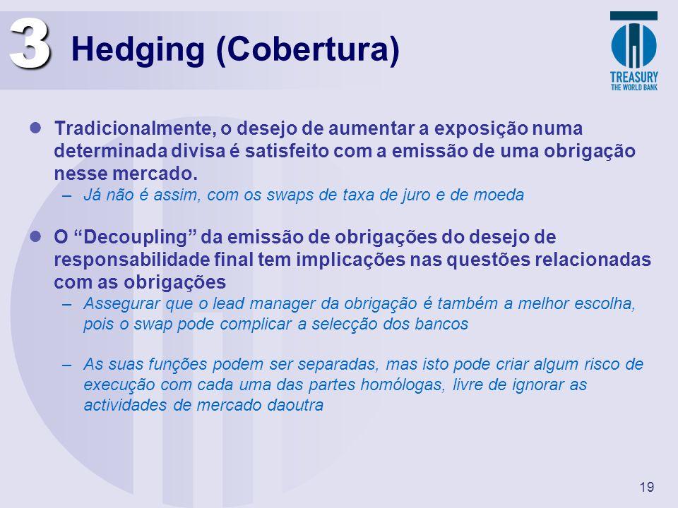 19 Hedging (Cobertura) Tradicionalmente, o desejo de aumentar a exposição numa determinada divisa é satisfeito com a emissão de uma obrigação nesse me