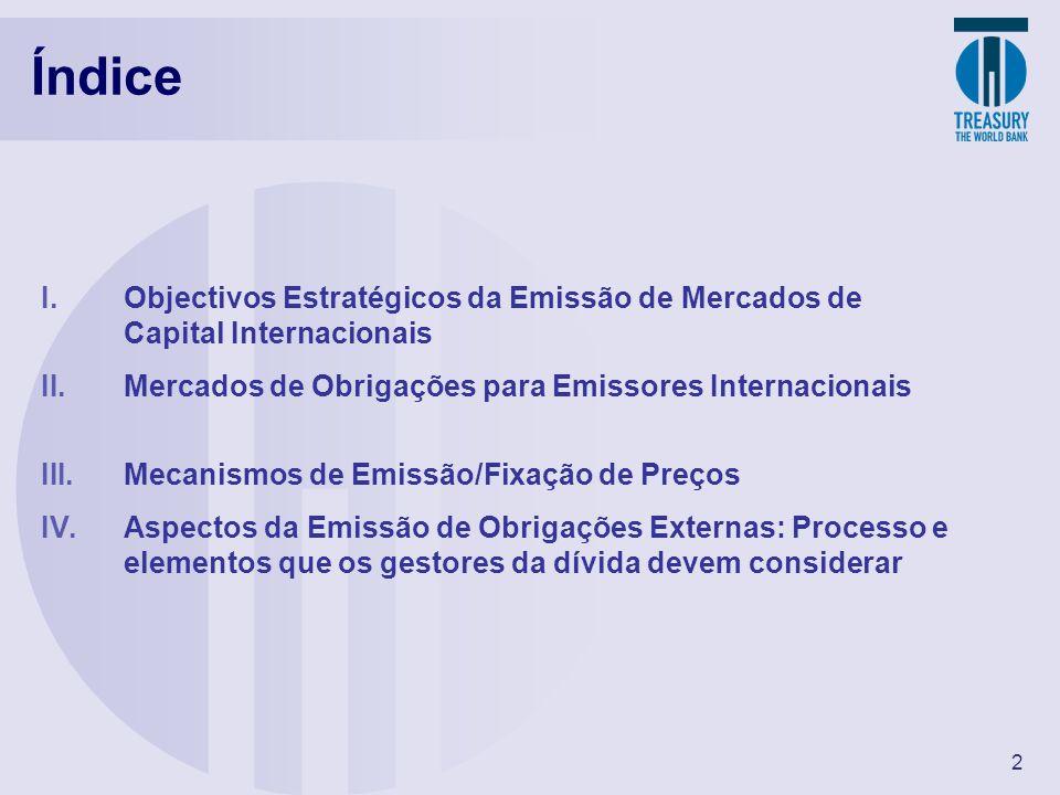 2 I.Objectivos Estratégicos da Emissão de Mercados de Capital Internacionais II.Mercados de Obrigações para Emissores Internacionais III.Mecanismos de