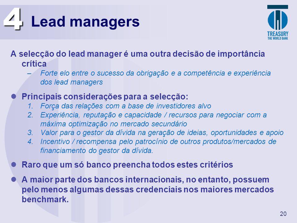 20 Lead managers A selecção do lead manager é uma outra decisão de importância crítica –Forte elo entre o sucesso da obrigação e a competência e exper