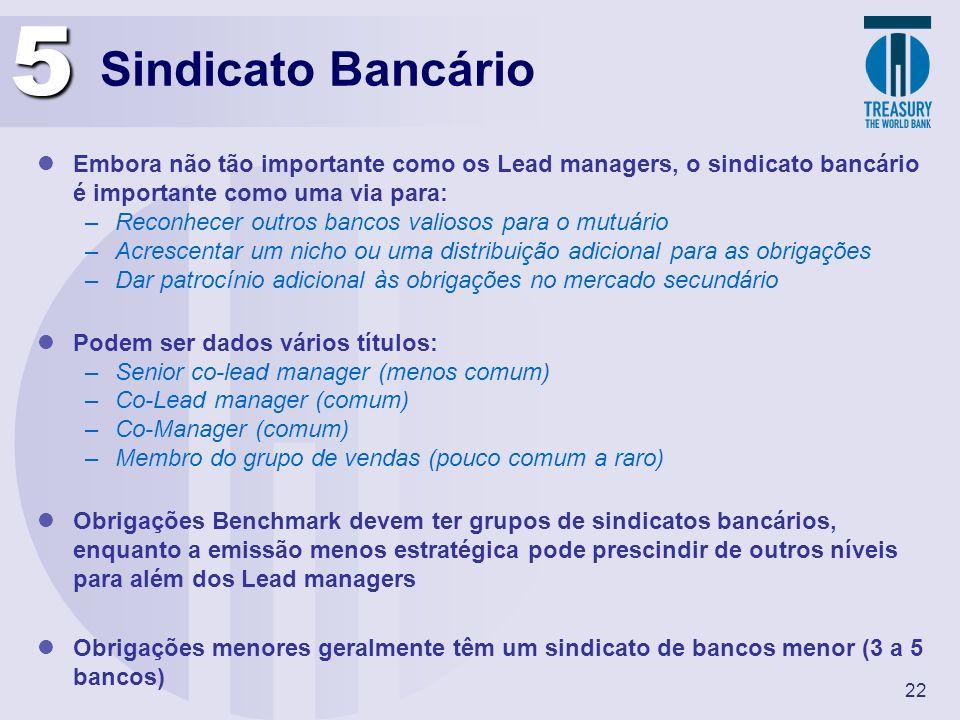 22 Sindicato Bancário Embora não tão importante como os Lead managers, o sindicato bancário é importante como uma via para: –Reconhecer outros bancos