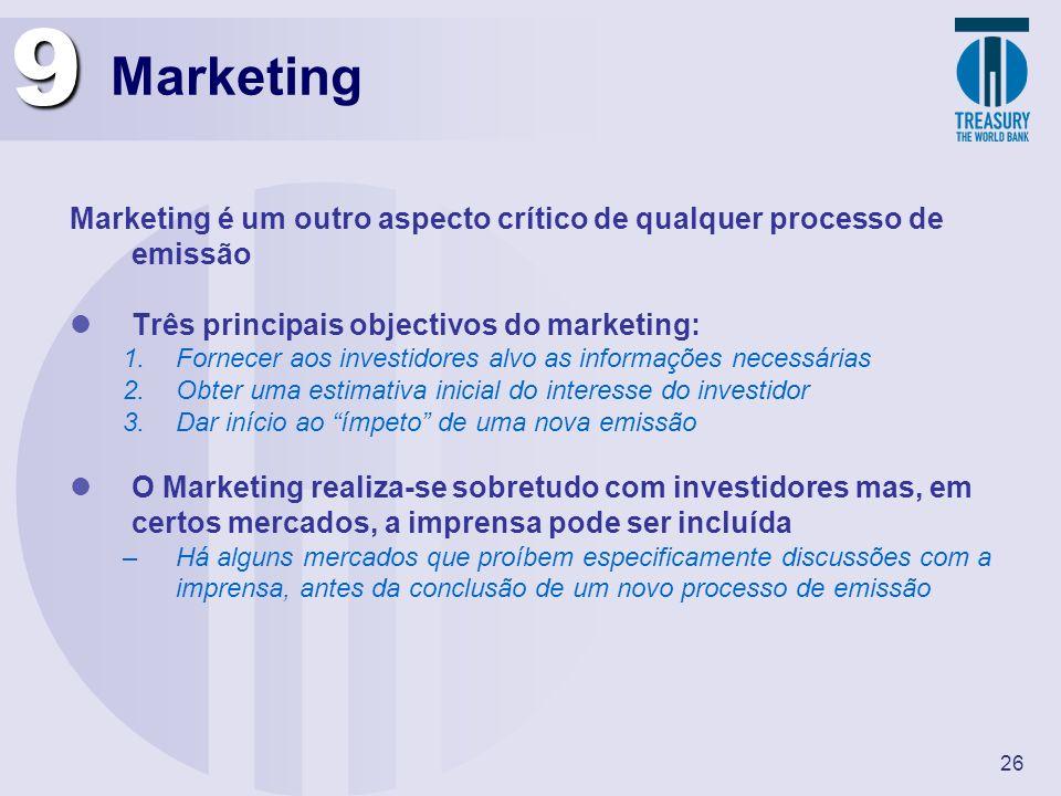 26 Marketing Marketing é um outro aspecto crítico de qualquer processo de emissão Três principais objectivos do marketing: 1.Fornecer aos investidores