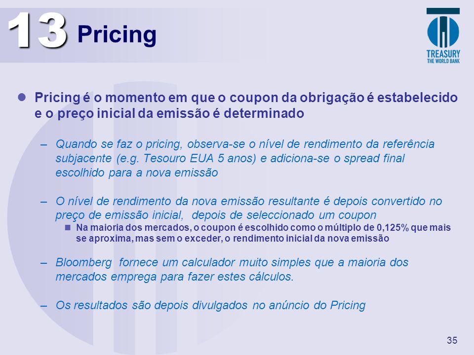 35 Pricing Pricing é o momento em que o coupon da obrigação é estabelecido e o preço inicial da emissão é determinado –Quando se faz o pricing, observ