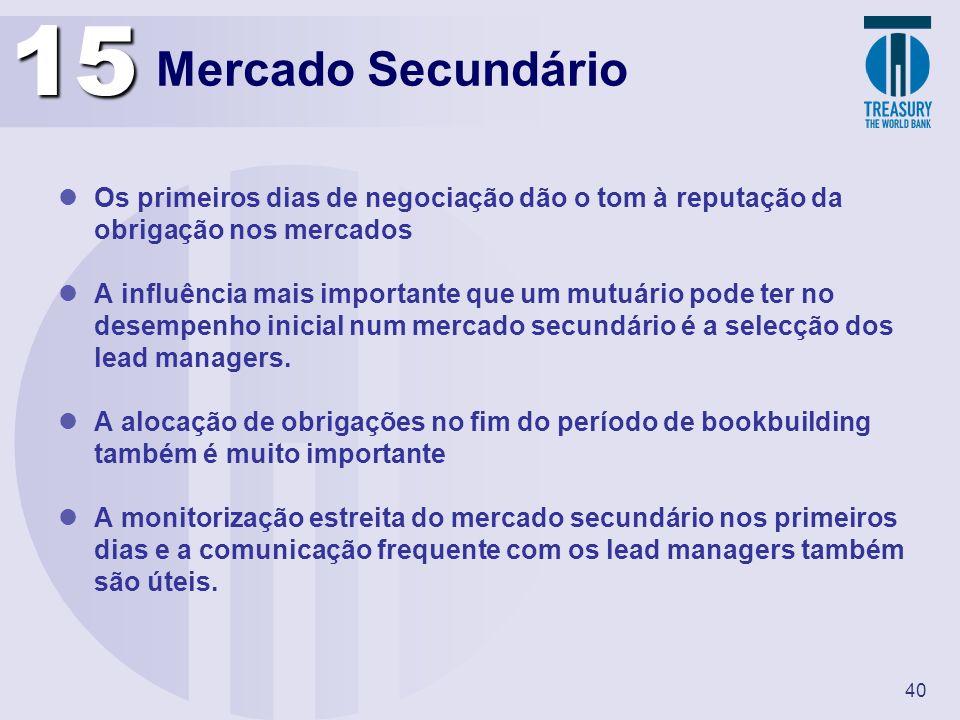 40 Mercado Secundário Os primeiros dias de negociação dão o tom à reputação da obrigação nos mercados A influência mais importante que um mutuário pod