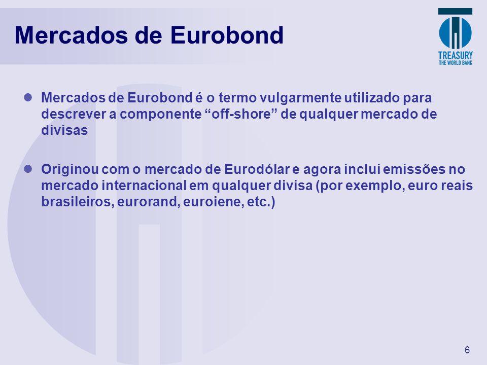 6 Mercados de Eurobond Mercados de Eurobond é o termo vulgarmente utilizado para descrever a componente off-shore de qualquer mercado de divisas Origi
