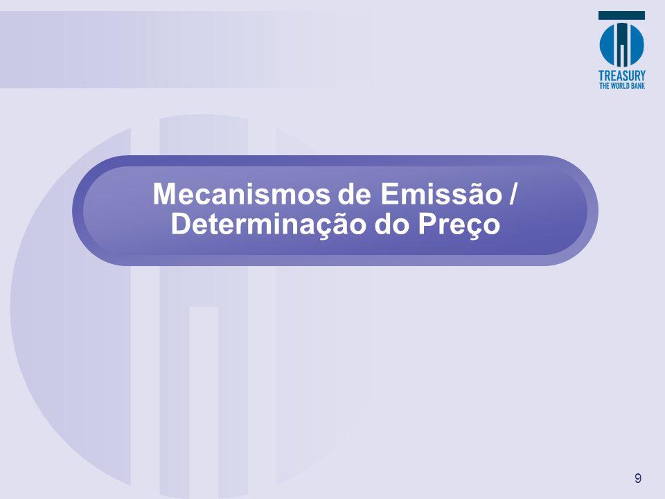 9 Mecanismos de Emissão / Determinação do Preço